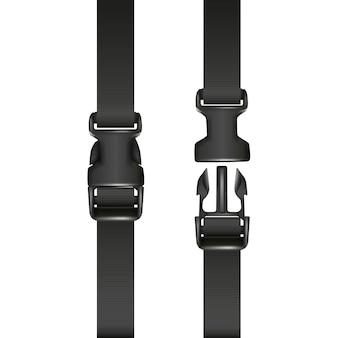 Fibbia nera a doppio sgancio rapido con cinturino, chiusa e aperta. isolato su sfondo bianco