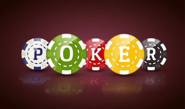 Fiches da poker con la parola poker