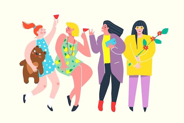 Fidanzate divertenti e colorate fanno festa, bevono vino, chiacchierano. girl power gruppo di personaggi divertendosi. .