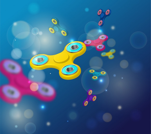 Fidget spinnerdark sfondo blu con icone colorate 3d
