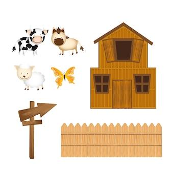 Fienile e animali con cartello in legno isolato