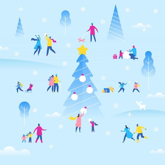 Fiera all'aperto per le vacanze di natale o capodanno, piccoli personaggi piacevoli