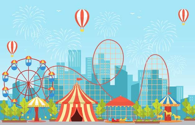 Fiera del divertimento del festival del carnevale del circo con fuochi d'artificio