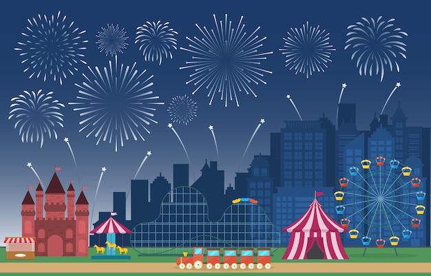 Fiera di divertimento di festival di carnevale del circo del parco di divertimenti con l'illustrazione del paesaggio del fuoco d'artificio