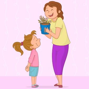 Figlia che dà i fiori a sua madre