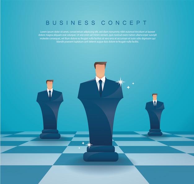 Figura concetto di strategia aziendale di scacchi dell'uomo d'affari