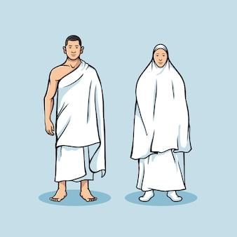 Figura di coppia in piedi di pellegrinaggio hajj