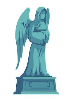 Figura di pietra di angelo, memoriale della lapide del cimitero