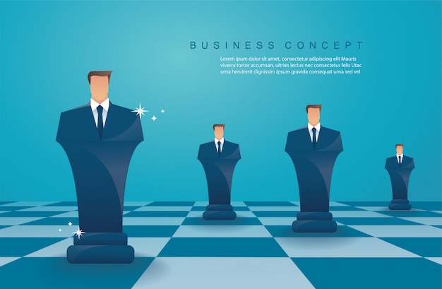 Figura di scacchi concetto di strategia aziendale