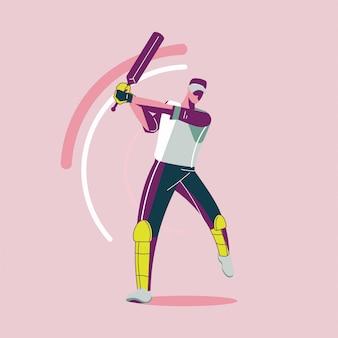 Fila di battitore che gioca il campionato di cricket o giocatore di cricket con altalena a mazza