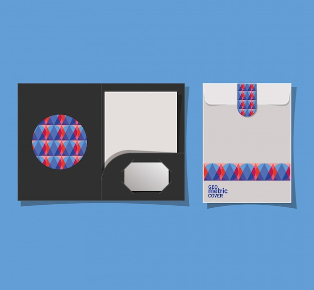 File di copertina e busta geometrici