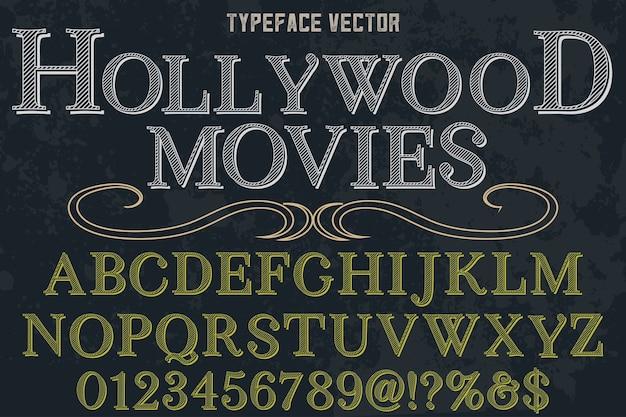 Film di hollywood in stile grafico alfabetico di carattere tipografico