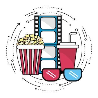 Filmstrip con icona di strumenti di cinematografia