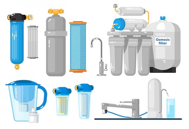 Filtri per l'acqua. set di filtri da banco, sottolavello, brocca, casa intera, osmosi inversa. purezza naturale dell'acqua dolce. raccolta di sistemi di filtrazione o purificazione minerali