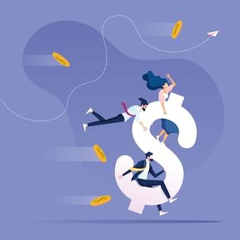 Financialo grwth concept business team che guida il simbolo del dollaro per andare avanti
