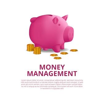 Finanza dei soldi del bilancio di investimento con l'illustrazione del porcellino salvadanaio rosa 3d