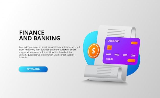 Finanza e concetto bancario. pagamenti aziendali e fatture della spesa e transazioni di debito. carta di credito 3d, moneta d'oro. illustrazione della pagina di destinazione