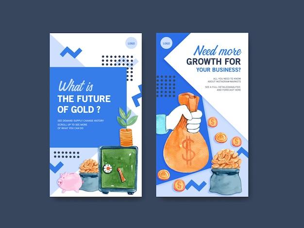 Finanzi il modello di progettazione di instagram con soldi, valuta, illustrazione dell'acquerello dei contanti.