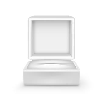 Fine aperta vuota del contenitore di gioielli del regalo del velluto bianco su isolata su fondo bianco
