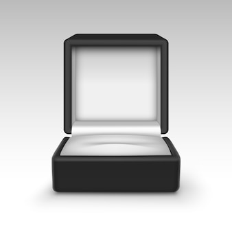 Fine aperta vuota del contenitore di gioielli del regalo del velluto nero su isolata su fondo bianco