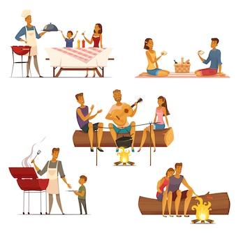 Fine settimana all'aperto di picnic del barbecue con le icone di composizioni del retro fumetto 5 della famiglia e degli amici isolate
