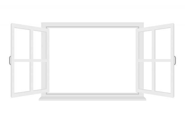 Finestra aperta isolata su fondo bianco