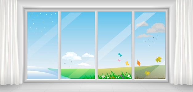 Finestra bianca moderna panoramica in diverse stagioni