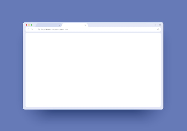 Finestra del browser con spazio vuoto per sito web, laptop e computer. concetto di finestra della pagina internet
