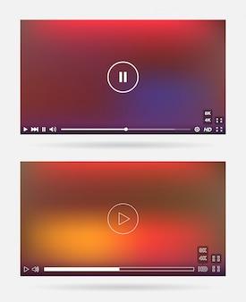Finestra del lettore video con set di pannelli di menu e pulsanti