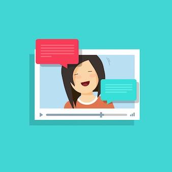 Finestra del lettore video piatto del fumetto con messaggi di ragazza felice chiamata online