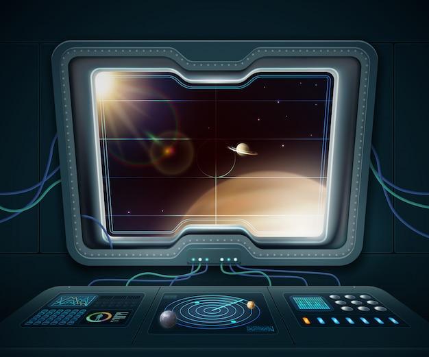 Finestra della nave spaziale con i pianeti dello spazio e l'illustrazione di vettore del fumetto delle stelle