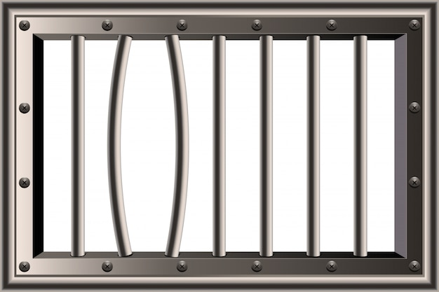 Finestra di barre di prigione dettagliate realistiche in metallo.
