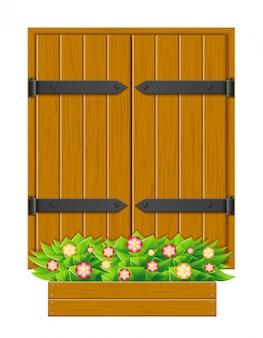 Finestra di legno dell'otturatore chiuso per l'illustrazione di vettore di progettazione