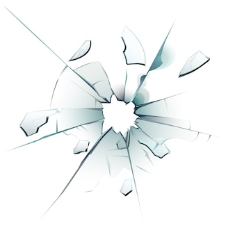 Finestra in frantumi. vetro incrinato, crepe del foro di proiettile e illustrazione isolata realistica dei frammenti di vetro di superficie vetrosa rotta