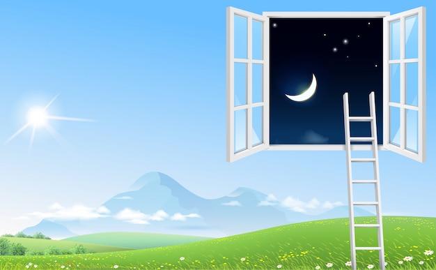 Finestra panoramica e scala di concetto a cielo notturno