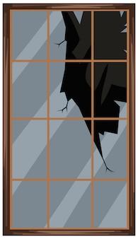 Finestra quadrata con vetri rotti