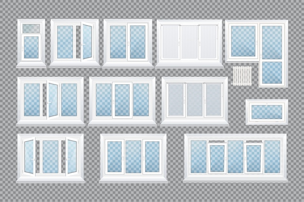 Finestre in plastica trasparente in vetro realistico con davanzali