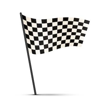 Finisci la bandiera su un palo con ombra