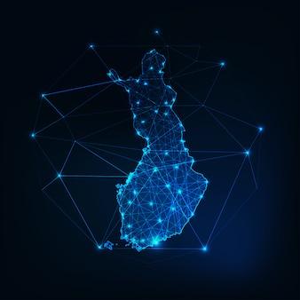 Finlandia mappa incandescente sagoma contorno fatto di forme poligonali basse.