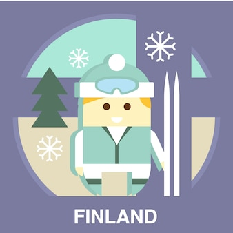 Finn con ski illustration