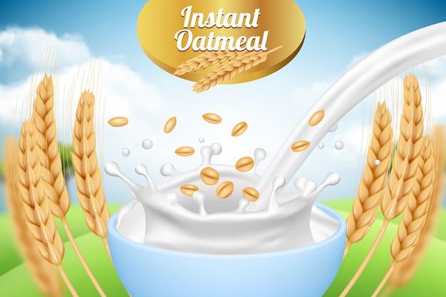 Fiocchi d'avena. modello del cartello dell'annuncio con il modello d'imballaggio del fondo dei prodotti agricoli sani dell'alimento biologico del grano e del latte realistico