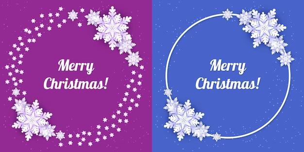 Fiocchi di neve bianchi origami con ombra su sfondo viola e blu