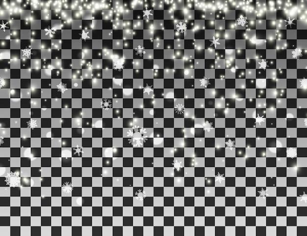 Fiocchi di neve cadenti su sfondo trasparente. modello di nevicate natalizie.