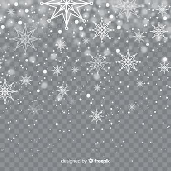Fiocchi di neve caduta realistico in sfondo trasparente