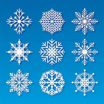 Fiocchi di neve di natale decorativi impostare elementi