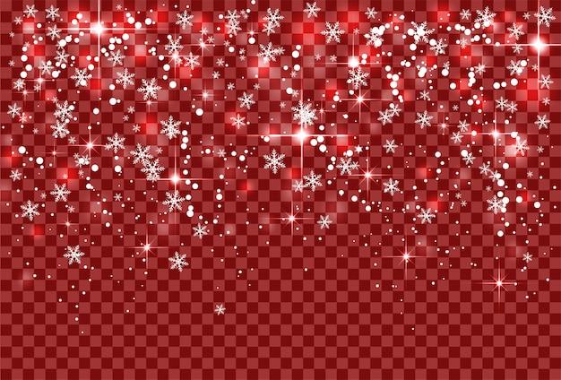 Fiocchi di neve e scintillio delle nevicate di festa di natale su fondo trasparente rosso