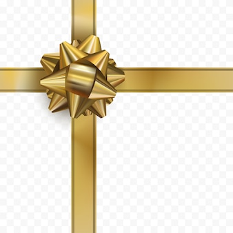 Fiocco d'oro con nastro su sfondo trasparente. arco design realistico in oro. regalo decorativo. vettore