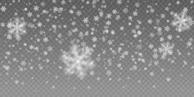Fiocco di neve bianca che cade. effetto neve realistico.