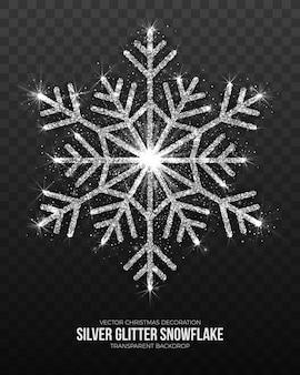 Fiocco di neve d'argento brillante isolato su sfondo trasparente.