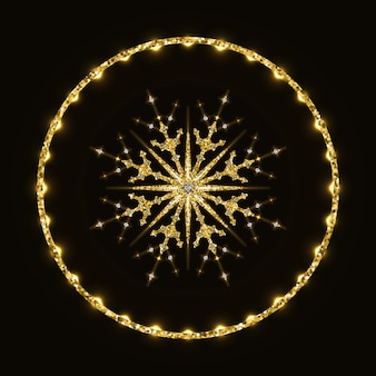 Fiocco di neve scintillante dorato in anello lucido